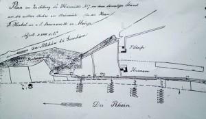 Lageplan der Ginsheimer Schiffsmühlen von 1873